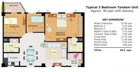 Cypress Towers 3 Bedroom unit