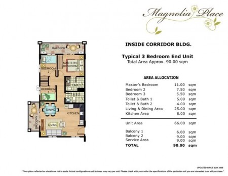 Magnolia Place 3 Bedroom Floorplan